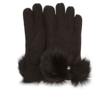 Long Pile Bow Handschuhe Damen Black