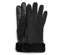 Fabric Leather horty Handchuhe für Damen au Leder in chwarz