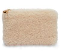 Small Zip Pouch Sheepskin Clutch Damen Natural