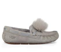 Dakota Pom Pom Hausschuhe für Damen aus Leder/Veloursleder in Hellgrau