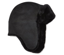 Sheepskin Trapper Hat in Schwarz