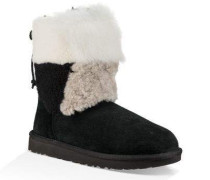 Classic Short Patchwork Fluff Boot Damen Black