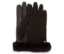 Fabric Leather Shorty Handschuhe Damen Black