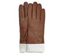 Knit Cuff Leather Logo Handchuhe für Damen au Leder in Braun