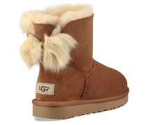 Fluff Bow Mini Classic Boot Damen Chestnut