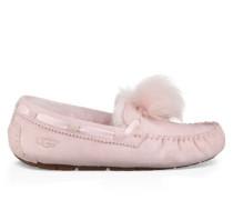 Dakota Pom Pom Hausschuhe aus Leder/Veloursleder in Seashell Pink