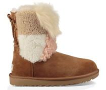 Classic Short Patchwork Fluff Boot Damen Chestnut