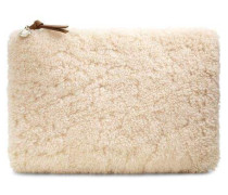 Large Zip Pouch Sheepskin Clutch Damen Natural