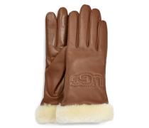 Cassic eather ogo Handschuhe für Damen aus eder in Braun