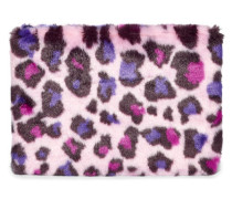 Faux Fur Medium Zip Clutch Leopard Fairy Tale