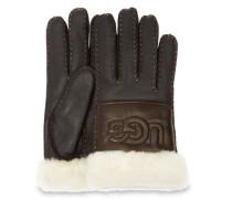 Sheepskin Logo Handschuhe Damen Black Leather