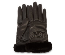 Classic Leather Logo Handschuhe Damen Black
