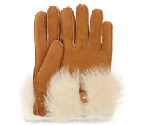Long Pile Bow Handschuhe Damen Chestnut