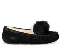 Dakota Pom Pom Hausschuhe für Damen aus Leder/Veloursleder in Schwarz
