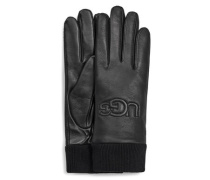 Knit Cuff Leather Logo Handchuhe für Damen au Leder in chwarz