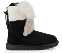 Classic Short Patchwork Fluff Boot Damen Black
