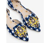 Leah Flache Schuhe mit Schmucksteinbesatz Navy Damen