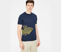 Gemustertes Flammgarn-Shirt mit Rundhalsausschnitt Navy Herren