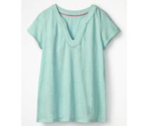 Leinen-Jerseyshirt mit tiefem Ausschnitt Blue Damen