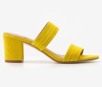 Orella Pantoletten aus Veloursleder Yellow Damen
