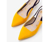 Florrie Riemchensandalen mit Pfennigabsatz Yellow Damen