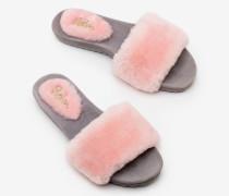 Lammfell-Pantoffeln Pink Damen