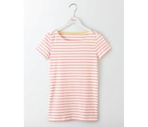 Kurzärmliges Bretonshirt Pink Damen