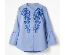 Besticktes Hemd mit Glockenärmeln Blue Damen
