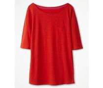 Basic-T-Shirt mit U-Boot-Ausschnitt Red Damen