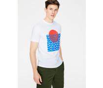 Gemustertes Flammgarn-Shirt mit Rundhalsausschnitt White Herren