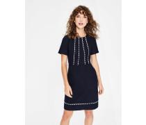Strukturiertes Kleid mit Muschelsaum Navy Damen