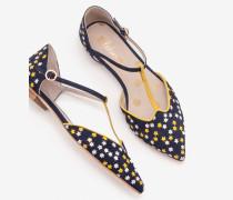 Layla Flache Schuhe mit T-Steg Navy Damen
