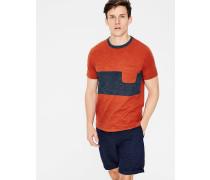 Gestreiftes Flammgarn-Shirt mit Rundhalsausschnitt Orange Herren