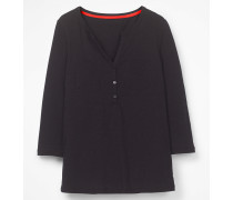 Basic-Henleyshirt Black Damen
