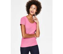Kurzärmeliges Basic-T-Shirt Pink Damen