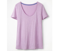 Basic-T-Shirt mit abgerundetem V-Ausschnitt Purple Damen