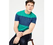 Gestreiftes Flammgarn-Shirt mit Rundhalsausschnitt Green Herren