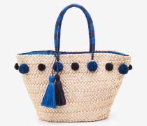 Strandtasche mit Bommeln Blue Damen