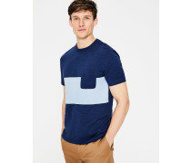 Gestreiftes Flammgarn-Shirt mit Rundhalsausschnitt Navy Herren