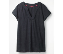 Leinen-Jerseyshirt mit tiefem Ausschnitt Navy Damen