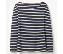 Langärmliges Bretonshirt Navy Damen