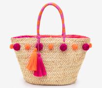 Strandtasche mit Bommeln Pink Damen