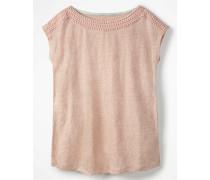 Leinen-Jerseyshirt mit U-Boot-Ausschnitt Pink Damen