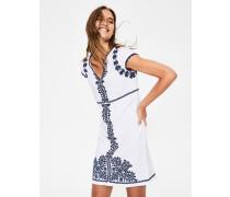 Bea Leinenkleid mit Stickereien White Damen