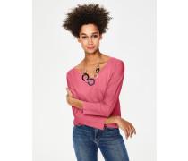 Superweiches T-Shirt mit abgerundetem V-Ausschnitt Pink Damen