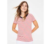 Kurzärmeliges Bretonshirt mit Rundhalsausschnitt Red Damen