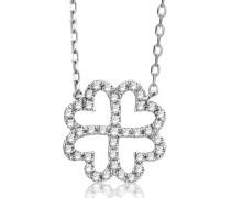 Halskette 'Blume' aus 375 Weißgold mit 0.14 Karat Diamanten