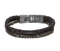 Armband aus Leder & Edelstahl mit Hämatiten