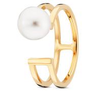 Ring Pure White aus vergoldetem 925 Sterling Silber mit Süßwasser-Zuchtperle-50