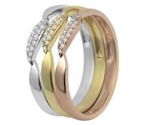 Ring aus 375 Tricolor Gold mit 0.15 Karat Diamanten-52